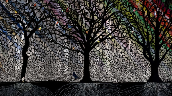 Een panoramisch bos van naald en draad