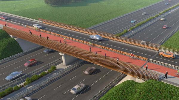 Een circulair viaduct, volledig van hout